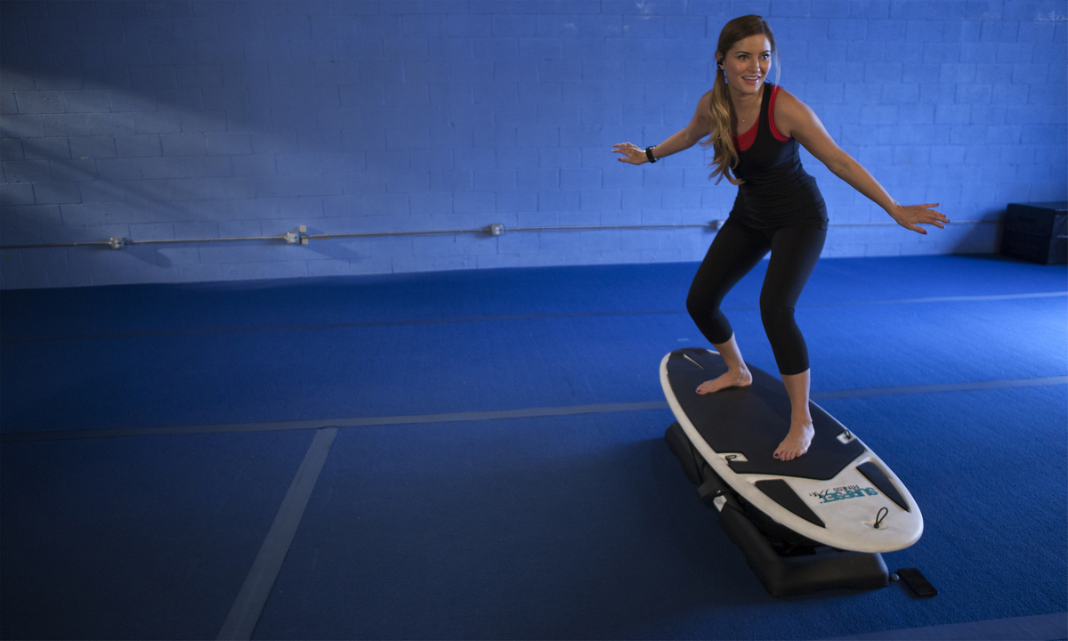 SURFSET® workouts use the SURFSET® Board, the world's first total-body surf trainer designed to mimic the movement of a surfb