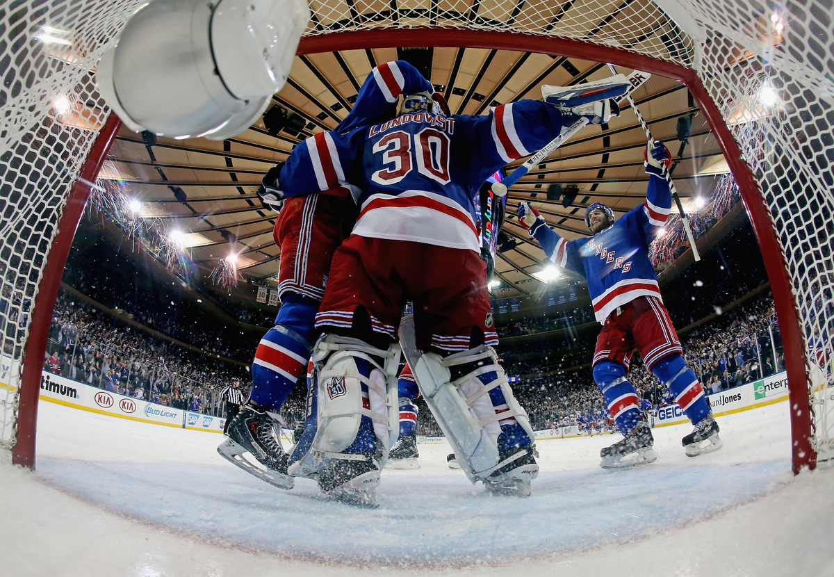 NEW YORK, NY - MAY 29:  Henrik Lundqvist #30 of the New York Rangers celebrates after defeating the Montreal Canadiens in Gam