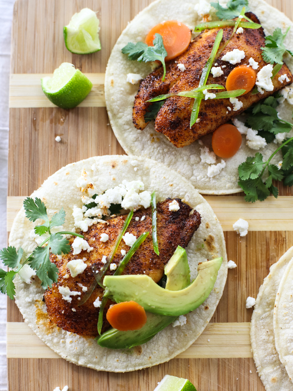 """<strong>Get the <a href=""""http://www.foodiecrush.com/2014/04/spicy-fish-tacos/"""" target=""""_blank"""">Spicy Fish Tacos</a> recipe fr"""