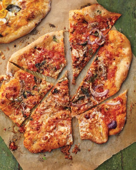 """<strong>Get the <a href=""""http://www.marthastewart.com/1050456/pizza-anchovies-red-onion-and-oregano"""" target=""""_blank"""">Pizza wi"""