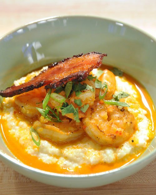 """<strong>Get the <a href=""""http://www.marthastewart.com/346887/shrimp-and-cheese-grits"""" target=""""_blank"""">Shrimp and Cheese Grits"""