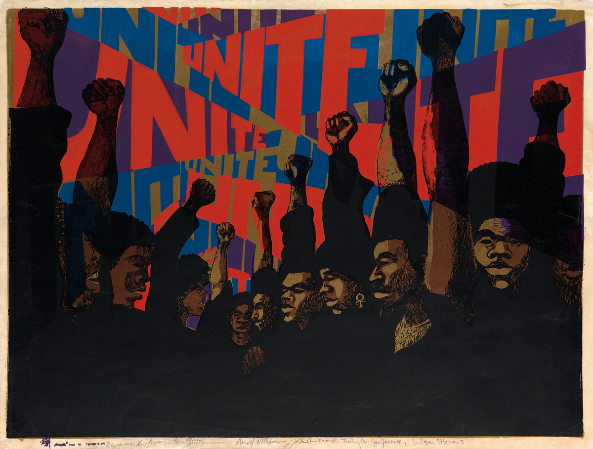 Barbara Jones-Hogu, UNITE, color screenprint, 1971. Estimate $3,000 to $5,000.