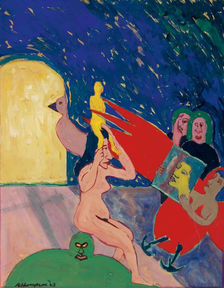Bob Thompson, Untitled (Reflections), gouache, 1963. Estimate $30,000 to $40,000.