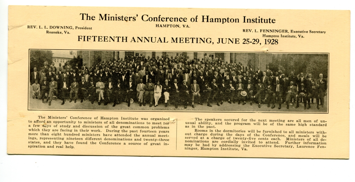 In 1928, the conference celebrated fourteen years of having more than 800 ministers attend, who represented nineteen differen