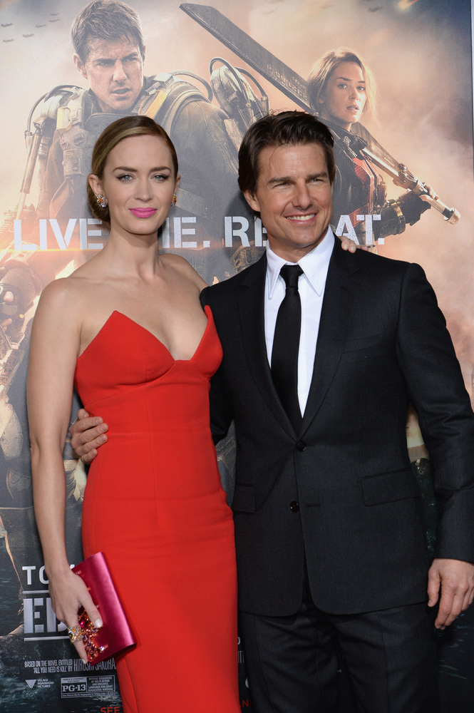 NEW YORK, NY - MAY 28:  Actors Emily Blunt and Tom Cruise attend the 'Edge Of Tomorrow' red carpet repeat fan premiere tour a