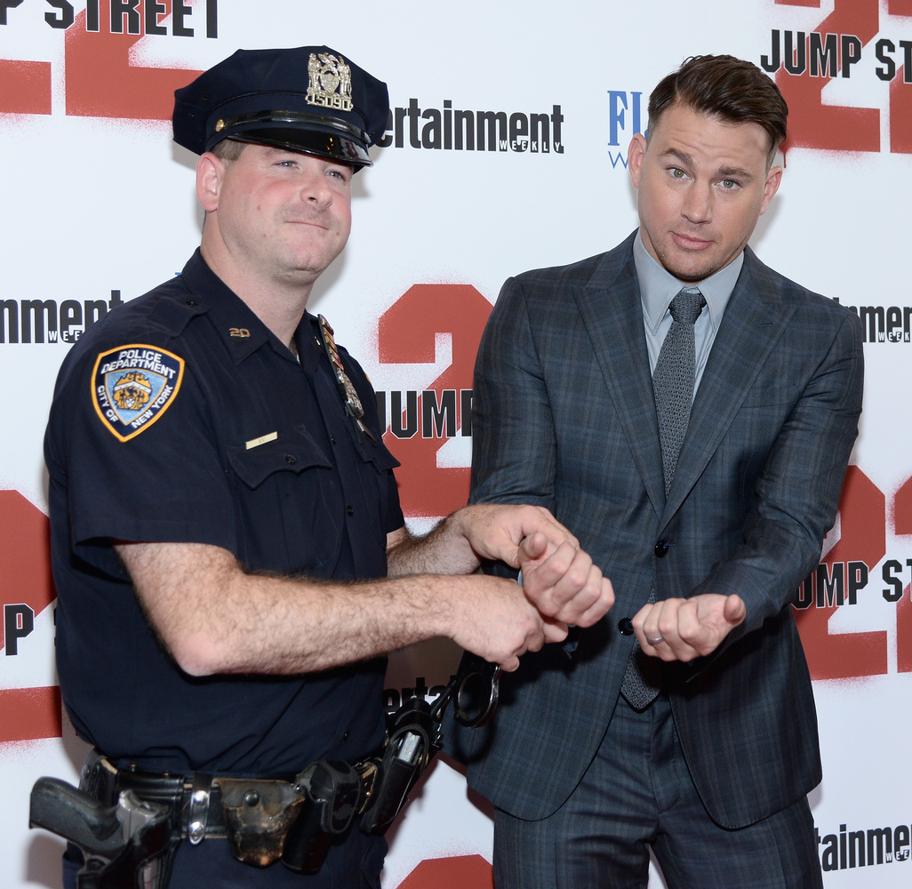 NEW YORK, NY - JUNE 04:  Actor Channing Tatum (R) attends the New York screening of '22 Jump Street' at AMC Lincoln Square Th