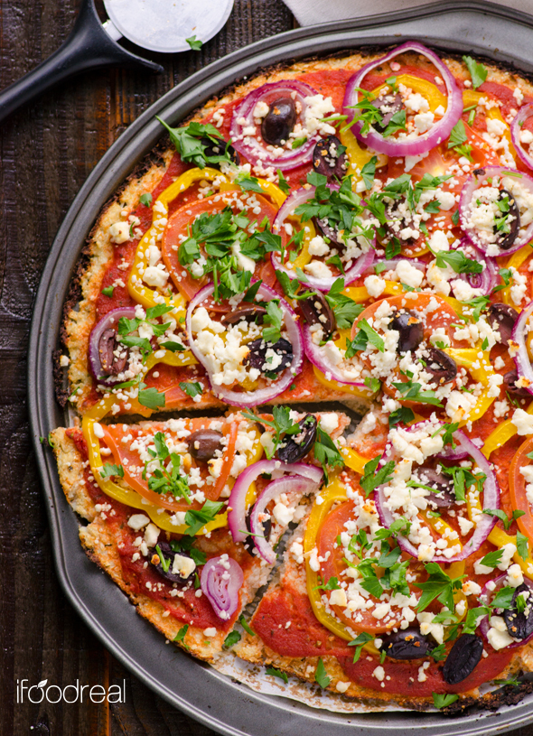 """<a href=""""http://ifoodreal.com/cauliflower-pizza-crust-recipe/"""" target=""""_blank"""">Get the recipe from ifoodreal</a>."""