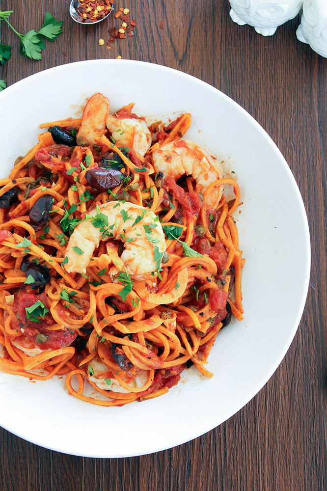 """Get the recipe from <a href=""""http://www.inspiralized.com/2014/01/23/sweet-potato-noodle-shrimp-puttanesca/"""" target=""""_blank"""">I"""