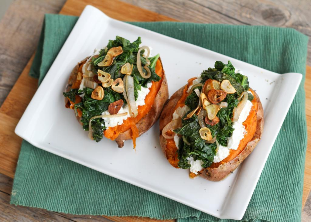 """<a href=""""http://www.onceuponacuttingboard.com/2014/04/sweet-potatoes-with-ricotta-kale.html"""" target=""""_blank"""">Get the recipe f"""