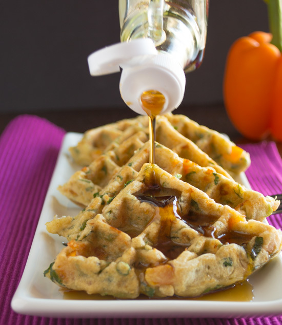 """<a href=""""http://healthynibblesandbits.com/2014/06/10/savory-veggie-waffles/"""" target=""""_blank"""">Get the recipe from Healthy Nibb"""