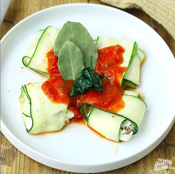 "<a href=""http://www.thehealthymaven.com/2014/06/spinach-ricotta-stuffed-zucchini-ravioli.html"" target=""_blank"">Get the recipe"
