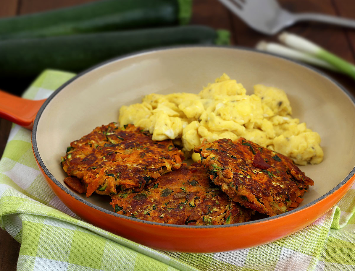 """<a href=""""http://www.paleonewbie.com/paleo-bacon-zucchini-carrot-fritters-recipe/"""" target=""""_blank"""">Get the recipe from Paleo N"""