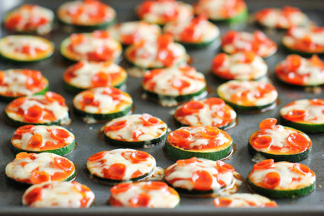 """<a href=""""http://damndelicious.net/2014/06/04/zucchini-pizza-bites/"""" target=""""_blank"""">Get the recipe from Damn Delicious here.<"""