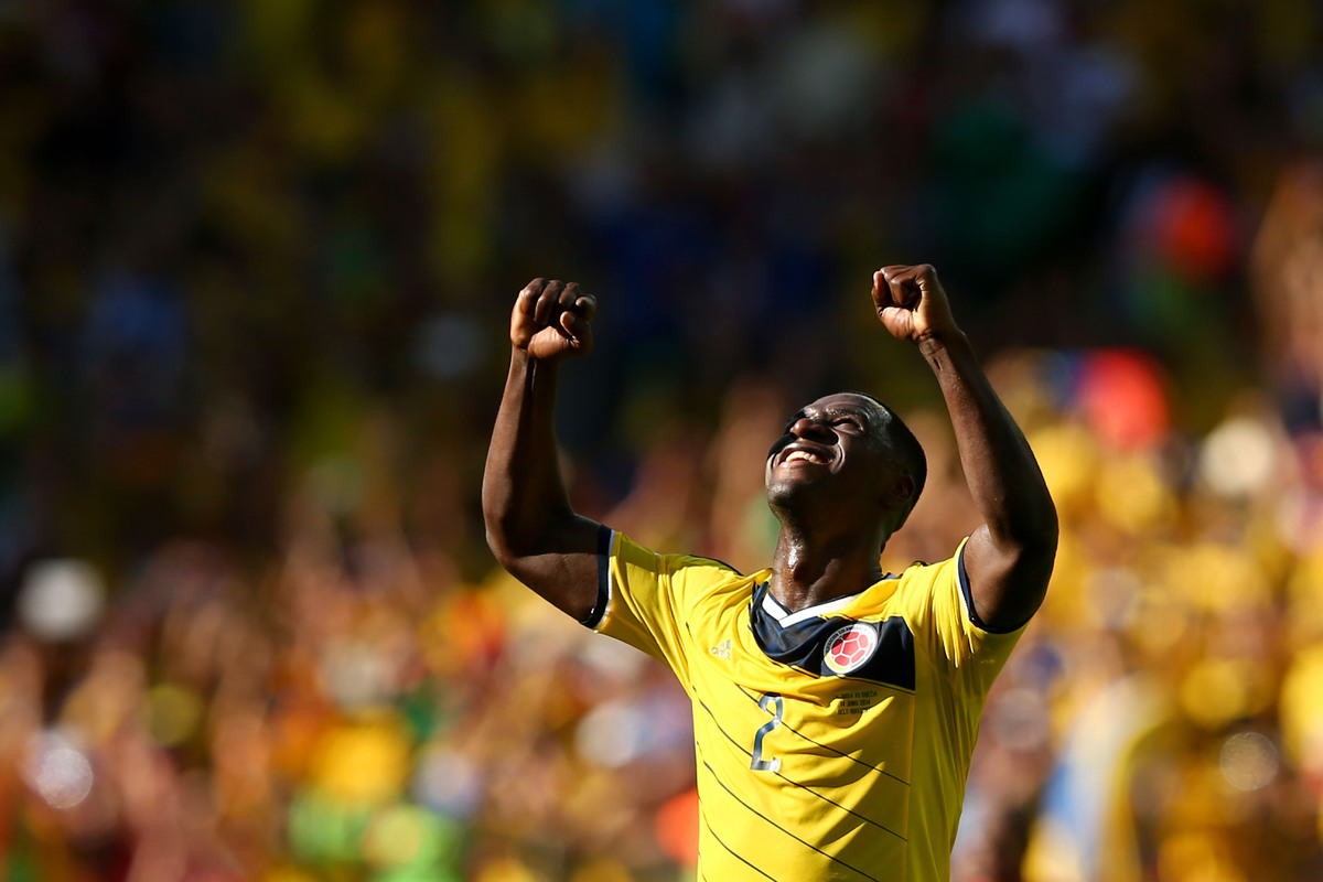 BELO HORIZONTE, BRAZIL - JUNE 14: Cristian Zapata of Colombia celebrates after defeating Greece 3-0 during the 2014 FIFA Worl
