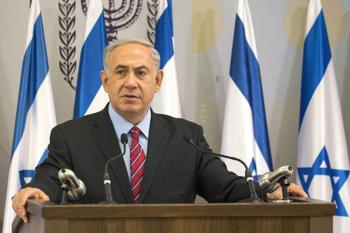 Israeli Prime Minister Benjamin Netanyahu delivers a statement in the Israeli Mediterranean coastal city of Tel Aviv, on June