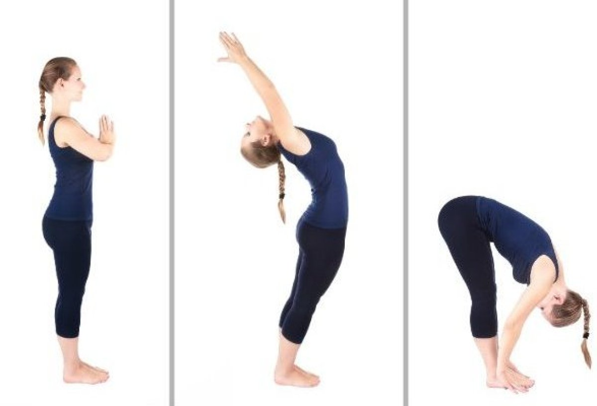 This 12-part sequence is to be done continuously, at a natural pace. Begin in mountain pose. Press your palms together in a p