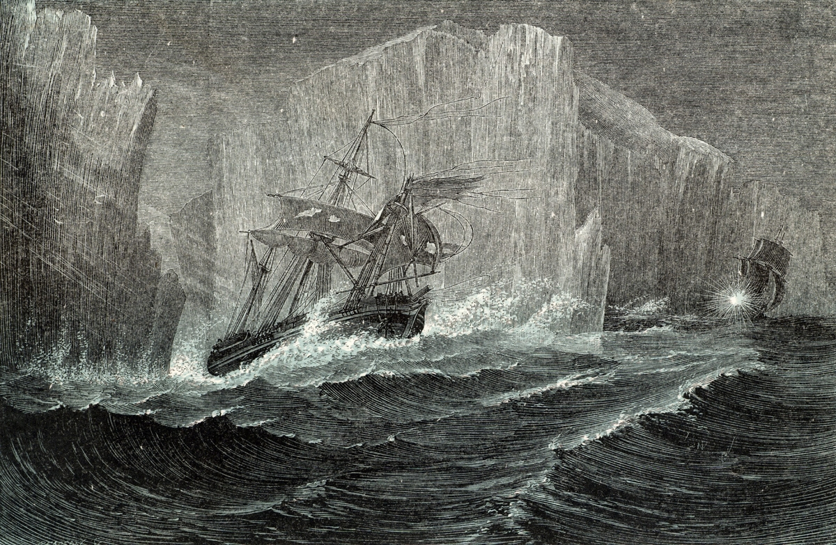 The 'Erebus' and the 'Terror' Among Icebergs. Sir John Franklin (1786-1847) British naval officer and Arctic explorer command