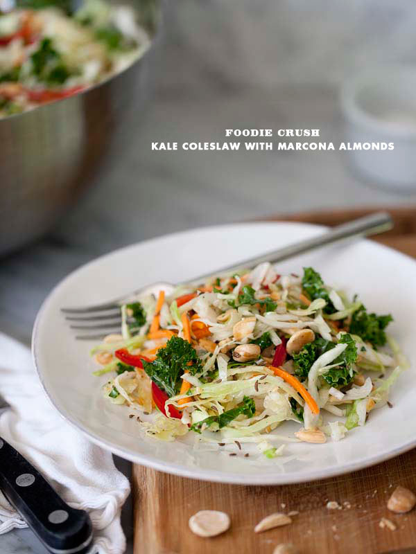 "<strong>Get the <a href=""http://www.foodiecrush.com/2012/06/kale-and-cabbage-coleslaw-with-marcona-almonds/"" target=""_blank"">"