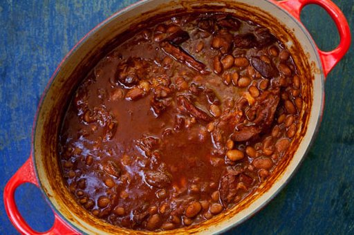 "<strong>Get the <a href=""http://www.simplyrecipes.com/recipes/cowboy_beans/"" target=""_blank"">Cowboy Beans</a> recipe from Sim"