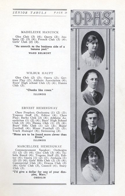 Ernest Hemingway's graduation photo and yearbook entry, Oak Park High School, 1917.