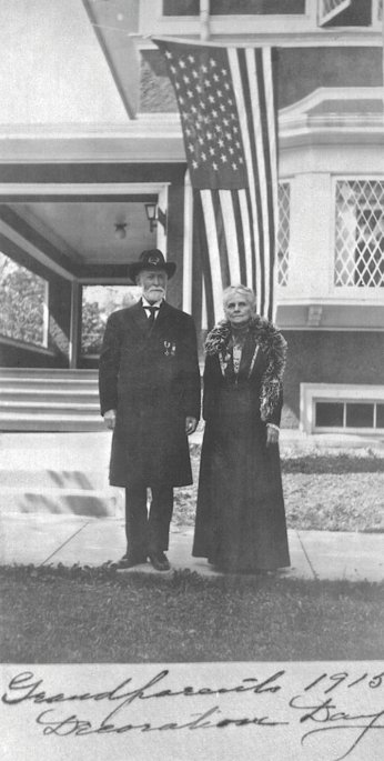 Anson and Adelaide Hemingway, Memorial Day, 1915, outside the boyhood home at 600 N. Kenilworth, Oak Park, Illinois. Anson is