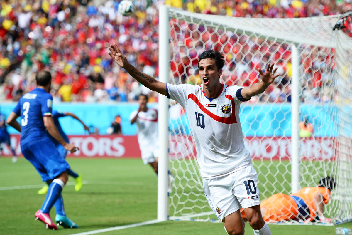 RECIFE, BRAZIL - JUNE 20:  Bryan Ruiz of Costa Rica celebrates scoring his team's first goal during the 2014 FIFA World Cup B