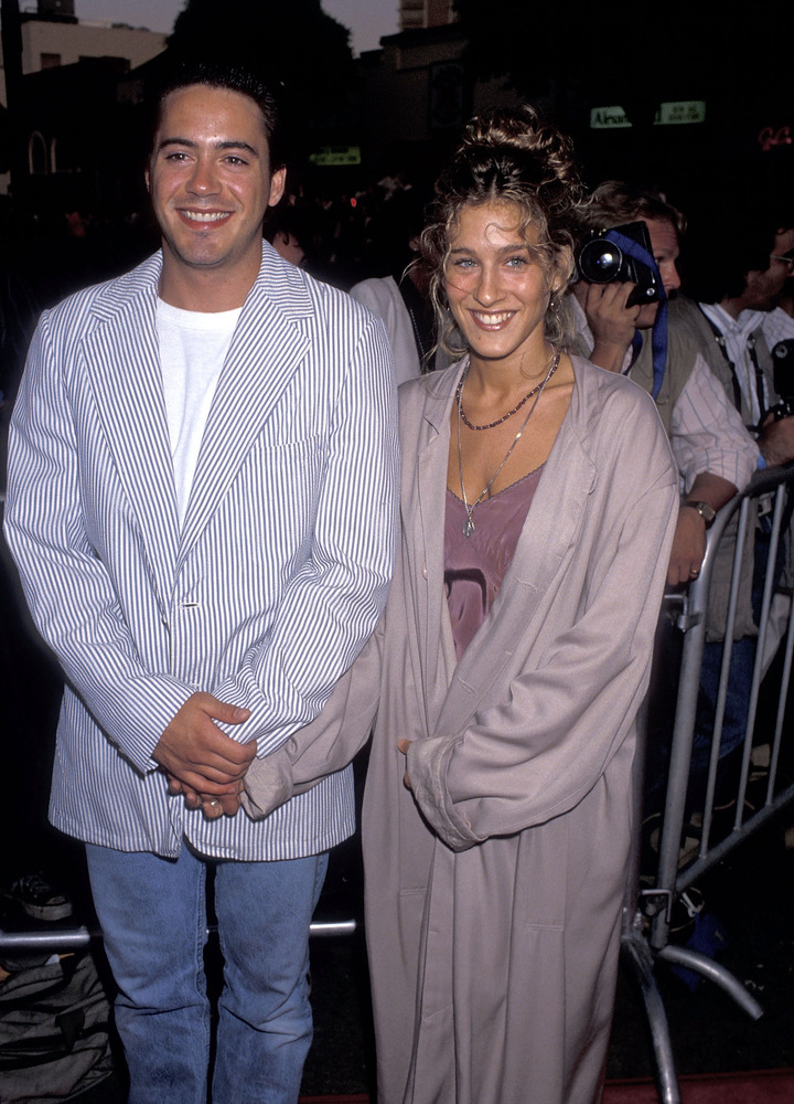 "Actor Robert Downey, Jr. and actress Sarah Jessica Parker attend the ""Batman"" Westwood Premiere on June 19, 1989 at Mann Brui"