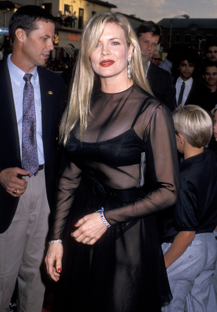 "Kim Basinger and brother during ""Batman"" Los Angeles Premiere at Mann Village theater in Westwood, California, United States."