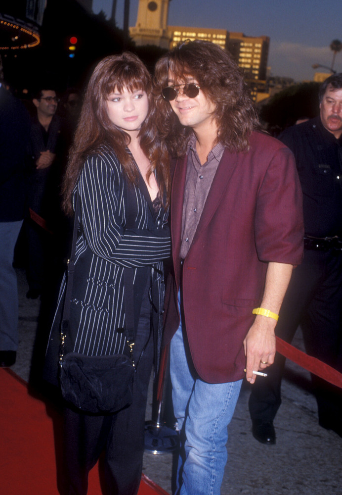 "Valerie Bertinelli and Eddie Van Halen during ""Batman"" Los Angeles Premiere at Mann Village theater in Westwood, California,"