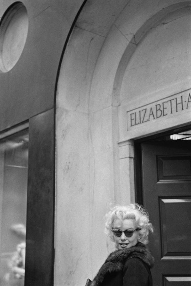 Outside the Elizabeth Arden salon in New York City on March 1, 1955.