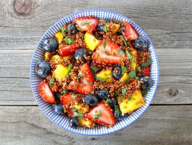 """<strong>Get the <a href=""""http://www.twopeasandtheirpod.com/quinoa-fruit-salad-with-honey-lime-dressing/"""" target=""""_blank"""">Quin"""