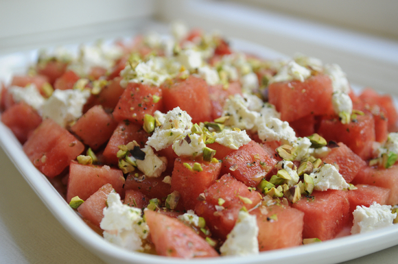 """<strong>Get the <a href=""""http://food52.com/recipes/292-watermelon-and-goat-cheese-salad-with-a-verbena-infused-vinaigrette"""" t"""