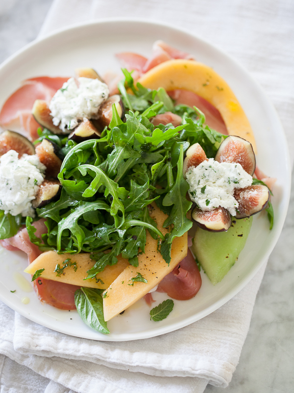 """<strong>Get the <a href=""""http://www.foodiecrush.com/2013/08/goat-cheese-stuffed-fig-melon-and-prosciutto-salad/"""" target=""""_bla"""