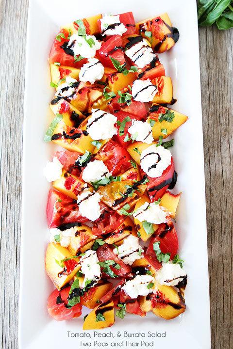 "<strong>Get the <a href=""http://www.twopeasandtheirpod.com/tomato-peach-burrata-salad/"" target=""_blank"">Tomato, Peach, & Burr"