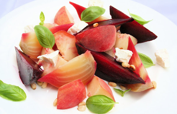 """<strong>Get the <a href=""""http://www.alexandracooks.com/2007/08/19/peach-and-beet-salad/"""" target=""""_blank"""">Peach and Beet Salad"""