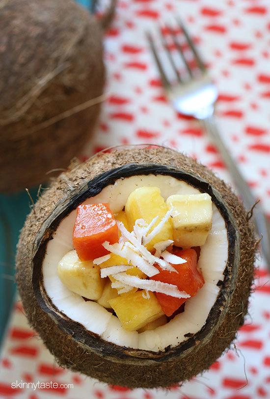 "<strong>Get the <a href=""http://www.skinnytaste.com/2013/06/tropical-fruit-salad-recipe.html"" target=""_blank"">Tropical Fruit"