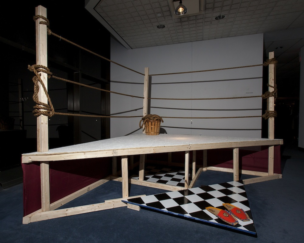 Nyugen Smith  Half the Battles  2014  Wood, rope, fabric, vinyl tiles  NFS