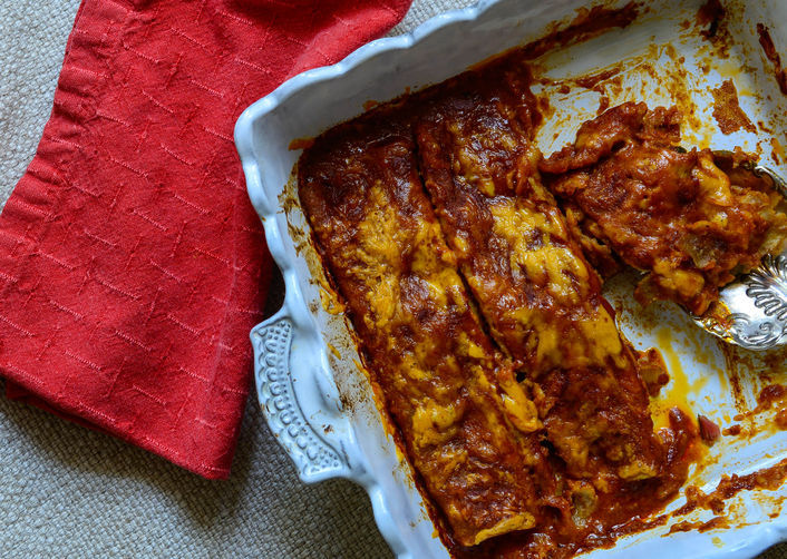"""<strong>Get the <a href=""""http://food52.com/recipes/22407-swiss-chard-and-zucchini-enchiladas"""" target=""""_blank"""">Swiss Chard and"""