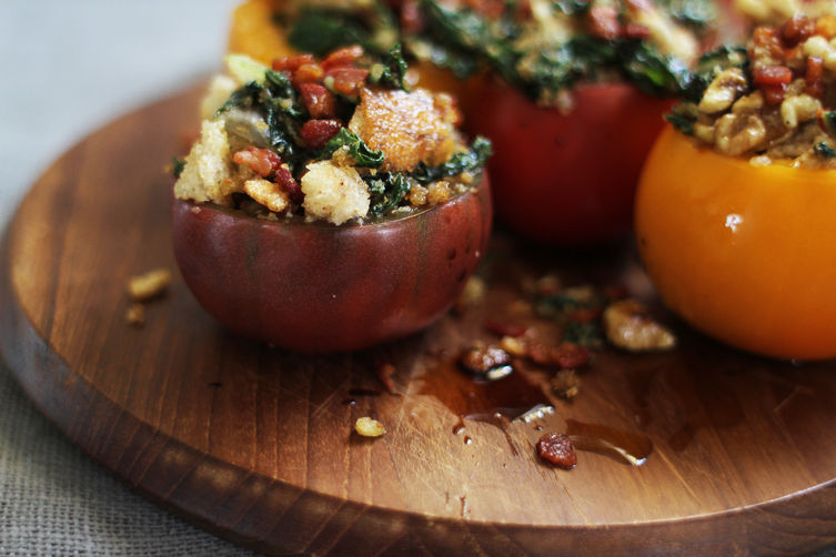 """<strong>Get the <a href=""""http://food52.com/recipes/23947-swiss-chard-walnut-stuffed-tomatoes-with-pancetta-breadcrumbs"""" targe"""