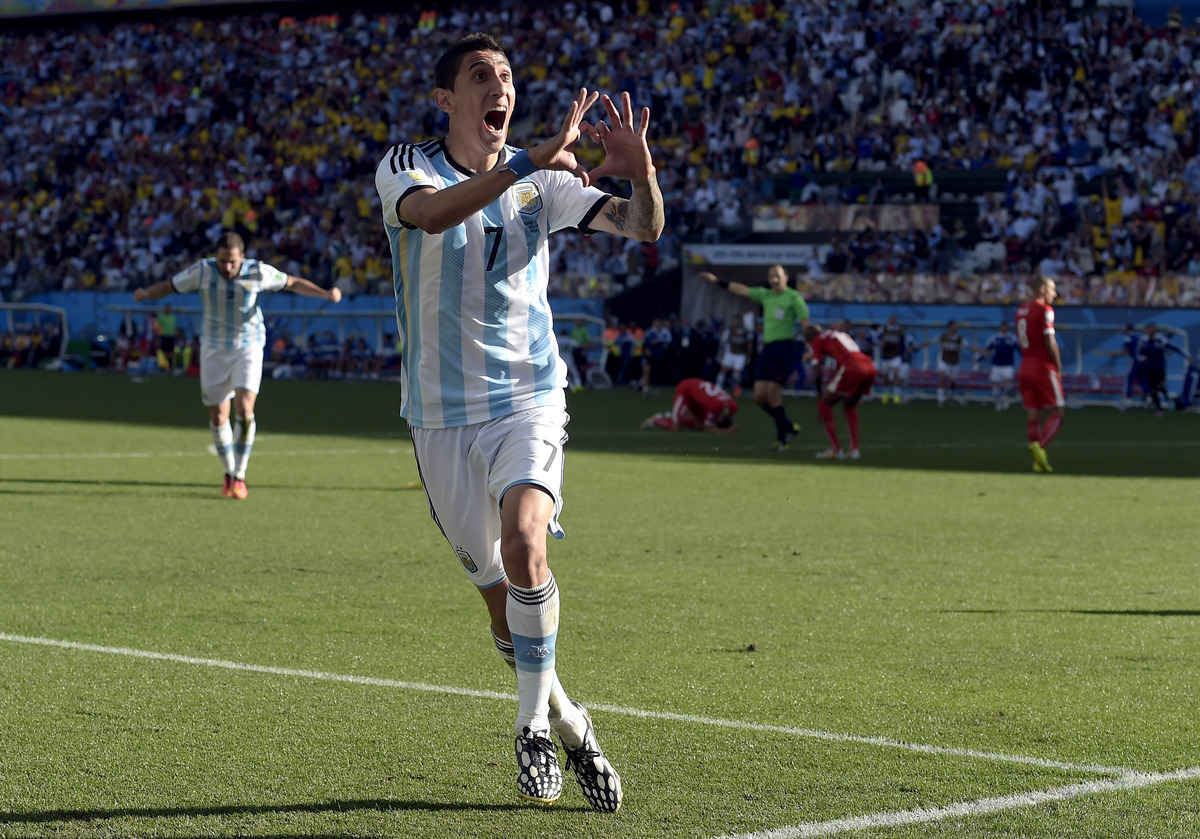 Argentina's Angel di Maria celebrates after scoring his side's only and winning goal in extra time during the World Cup round