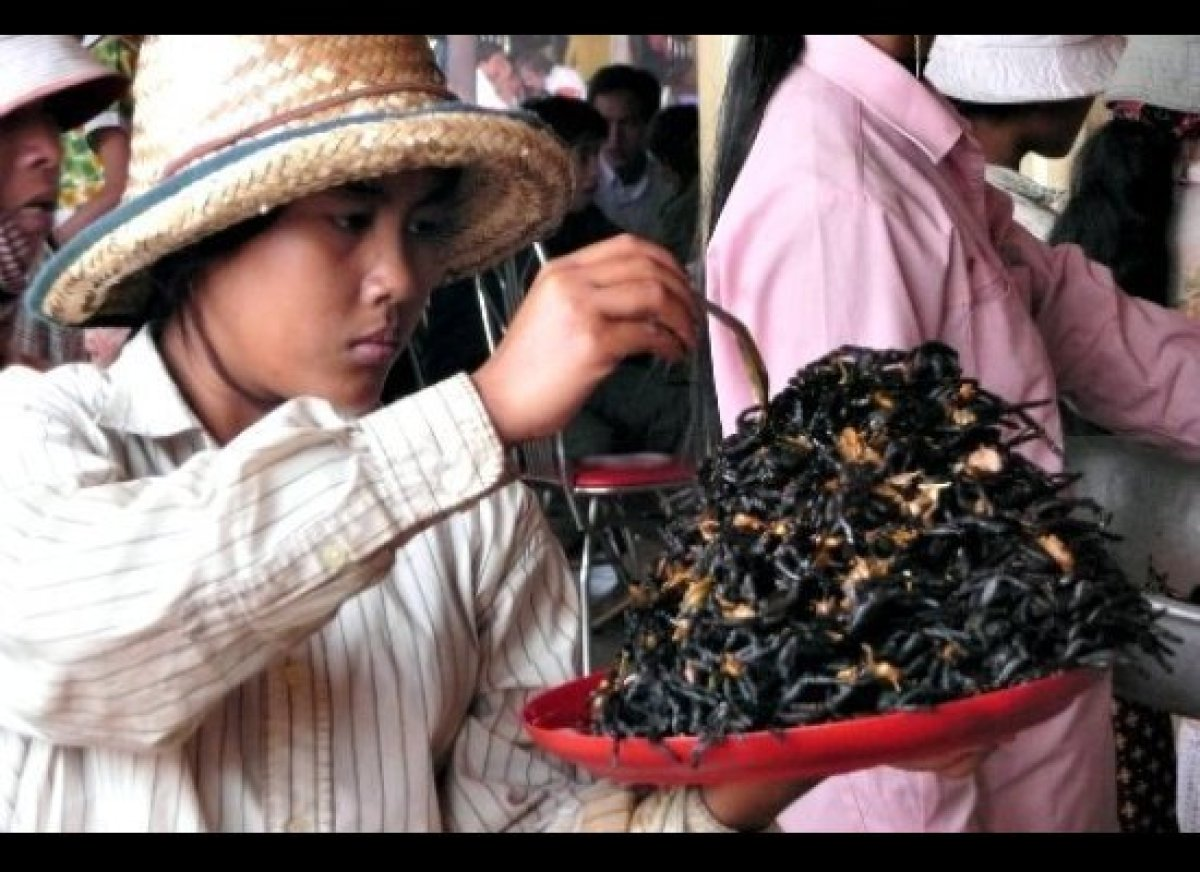 In Skuon, Cambodia, fried tarantulas are a local favorite that have turned into a tourist rite-of-passage — baskets full of t