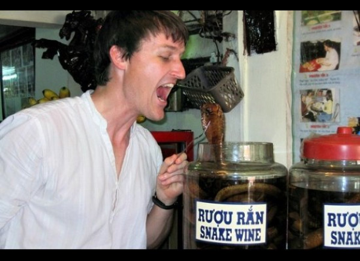 Call it a shot with a bite, but snake wine does what it says on the bottle: Whole venomous snakes are steeped in rice wine an