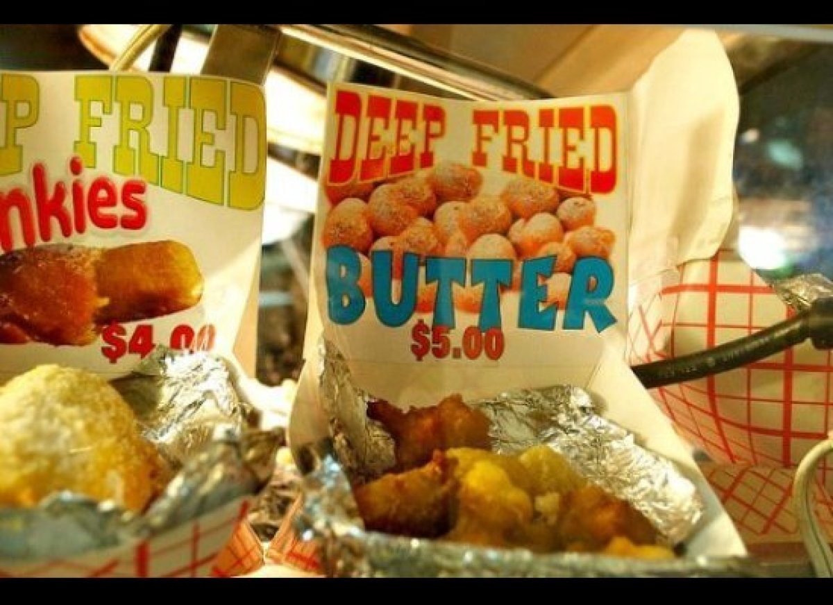 """With 45 grams of fat per serving, deep fried butter is our extreme food challenge of choice at the <a href=""""http://www.cheapf"""