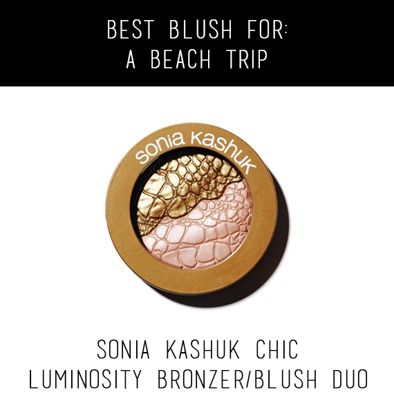 Enhance your beach glow with a bit of bronzer. This duo will allow your bronzer to blend right in with your blush and you won