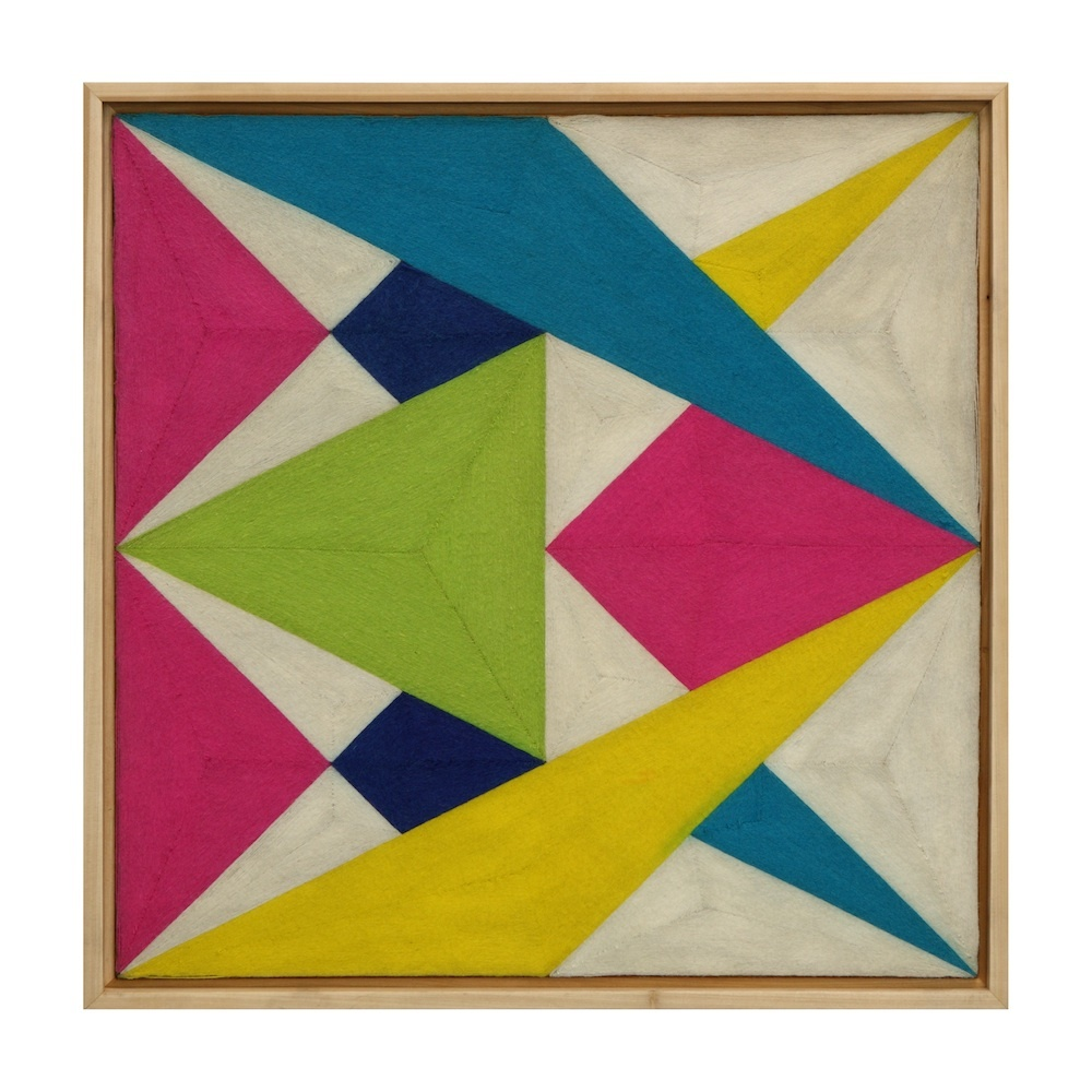 Eduardo Terrazas. 2.12, 1970/72. Wool yarn and wooden board covered with Campeche wax. 91 x 91 cm. Private Collection, São Pa