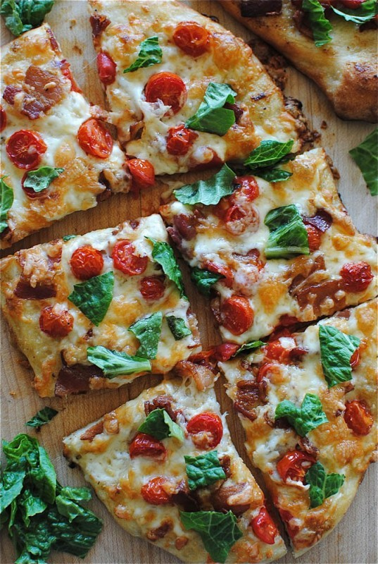 """<strong>Get the <a href=""""http://bevcooks.com/2013/03/blt-pizza/"""" target=""""_blank"""">BLT Pizza</a> recipe by Bev Cooks</strong>"""