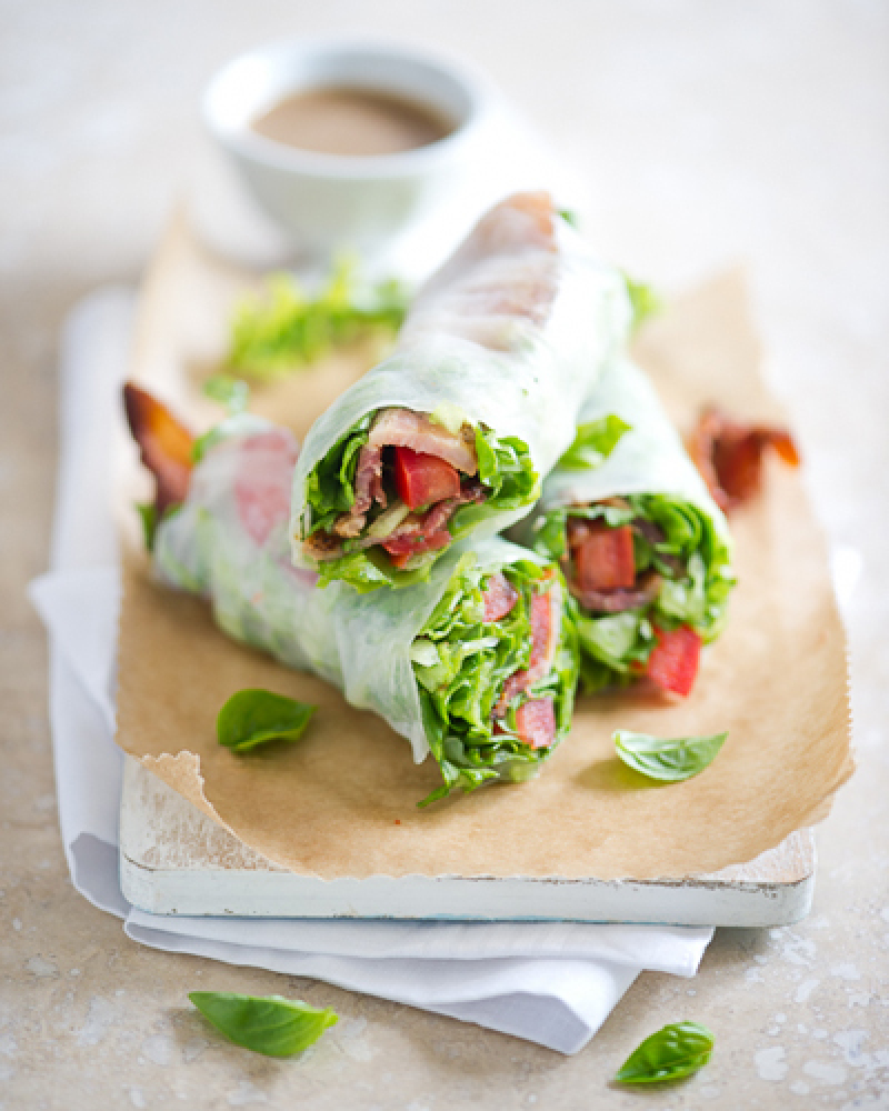 """<strong>Get the <a href=""""http://whiteonricecouple.com/recipes/spring-rolls/"""" target=""""_hplink"""">BLT Spring Rolls</a> recipe fro"""