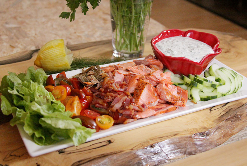 """<strong>Get the <a href=""""http://food52.com/recipes/18317-blt-salmon-salad-with-herbed-dressing"""" target=""""_blank"""">BLT Salmon Sa"""