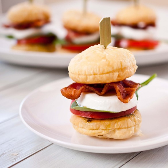 """<strong>Get the <a href=""""http://domesticfits.com/2012/03/09/blt-caprese-sliders-with-puff-pastry-buns/"""" target=""""_blank"""">BLT C"""