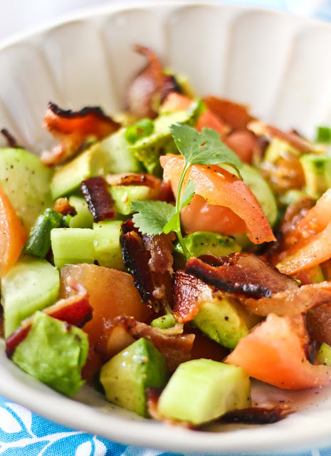 """<strong>Get the <a href=""""http://www.adventures-in-cooking.com/2011/03/bacon-avocado-salad.html"""" target=""""_blank"""">Bacon Avocado"""